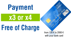 Payment x3 ou x4 free of charge